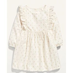 Old Navy Fit & Flare Ruffle-Trim Gold Dot Dress